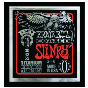 Ernie Ball Coated Electric Guitar Strings, Skinny Top/Heavy Bottom (10 - 52) (EB-3115EB)