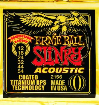 Ernie Ball Coated Slinky Acoustic Strings, Medium Light (12 - 54) (EB-2156)