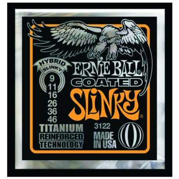 Ernie Ball Coated Electric Guitar Strings,Hybrid Slinky (9 - 46) (EB-3122)