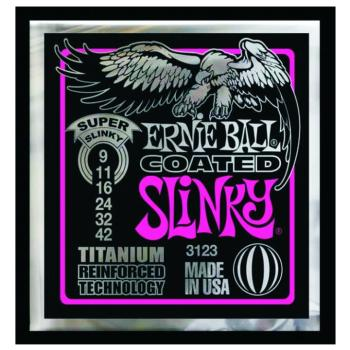 Ernie Ball Coated Electric Guitar Strings, Super Slinky (9 - 42) (EB-3123)