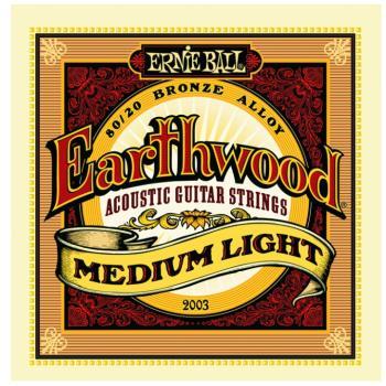 Ernie Ball Earthwood 80/20 Bronze Acoustic Guitar Strings, Medium Light (12- 54) (P02003)