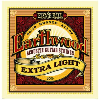 Ernie Ball Earthwood 80/20 Bronze Acoustic Guitar Strings, Extra Light (10- 50) (P02006)