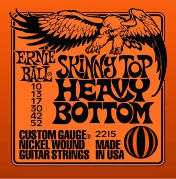 Ernie Ball Nickel Wound Electric Guitar Strings, Skinny Top/Heavy Bottom (10 - 52) (EB-2215)