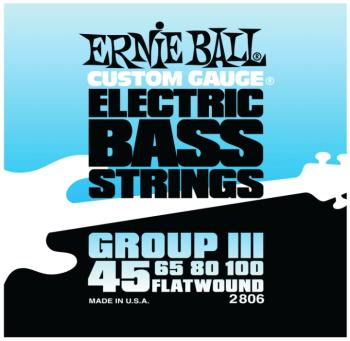 Ernie Ball Flatwound Group III Electric Bass Strings, (45 - 100) (EB-2806)