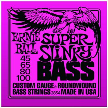 Ernie Ball Nickel Wound Electric Bass Strings, Super Slinky (45 - 100) (EB-2834)