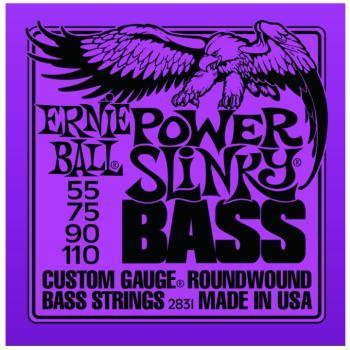 Ernie Ball Nickel Wound Electric Bass Strings, Power Slinky (55 - 110) (EB-2831)