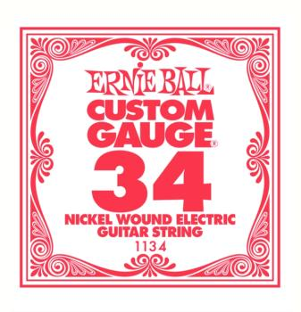 Ernie Ball Nickel Wound Single Electric Strings, .034 (6) (EB-1134)