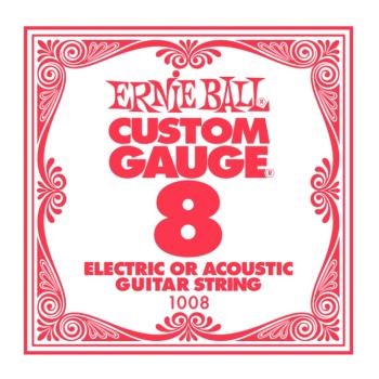Ernie Ball Plain Steel Electric/Acoustic Single Strings, .008 (6) (EB-1008)