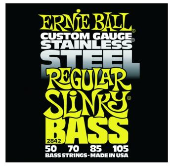 Ernie Ball Stainless Steel Electric Bass Strings, Regular Slinky (50 - 105) (EB-2842)