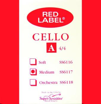 Super Sensitive Red Label Med Tone Cello String (SU-MTR-S4)
