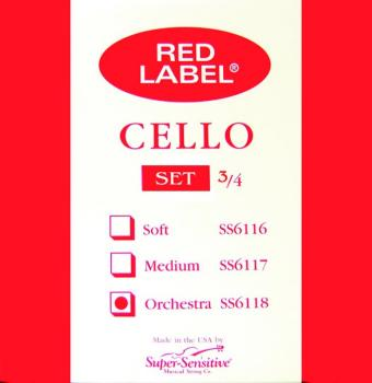 Super Sensitive Orch. Tone Cello String Set, 3/4 (SU-0016105)