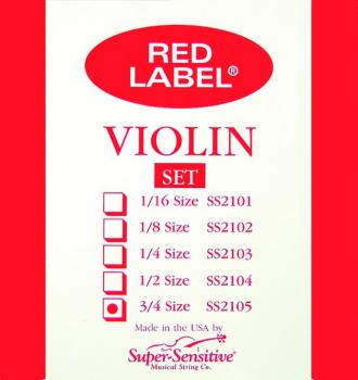 Super Sensitive Red Label Violin String Set, Orchestra Tone 3/4 (SU-0012105)