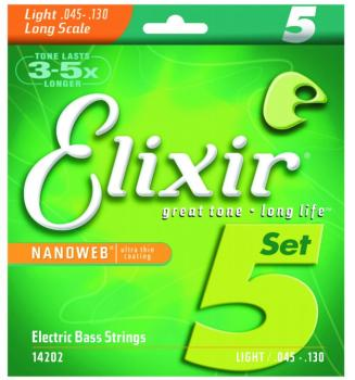 Elixir Nanoweb Coated 5 String Electric Bass Strings, Light/Long Scale (45 - 130) (LI-14202)