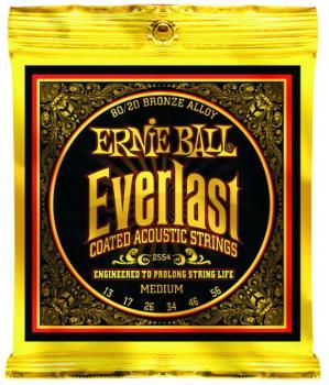 Ernie Ball Everlast Coated 80/20 Bronze Acoustic Guitar Strings, Medium 13 - 56 (EB-2554EB)