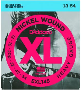 DAddario XL Nickel Wound Electric Guitar Strings, Heavy, Plain 3rd, (12 - 54) (DD-EXL145)