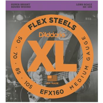 D'Addario EFX160 FlexSteels Long Scale Electric Bass Strings, Medium (DD-EFX160)