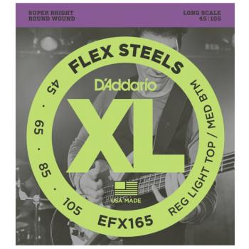 D'Addario EFX165 FlexSteels Electric Bass Strings, Custom Light (DD-EFX165)