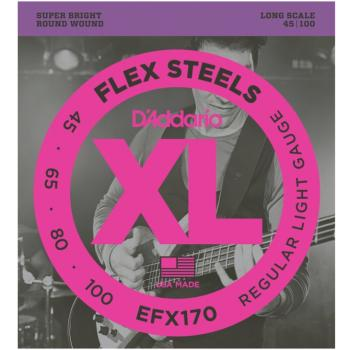 D'Addario EFX170 FlexSteels Long Scale Electric Bass Strings, Light (DD-EFX170)