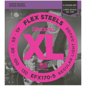 D'Addario EFX170-5 FlexSteels 5 String Bass Strings, Light (DD-EFX1705)