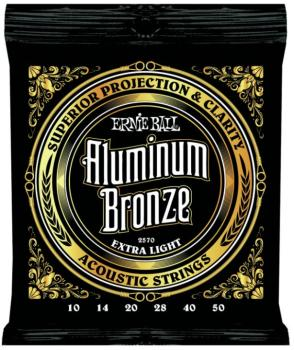 Ernie Ball Aluminum Bronze Acoustic Guitar Strings, Extra Light (10 - 50) (EB-2570)
