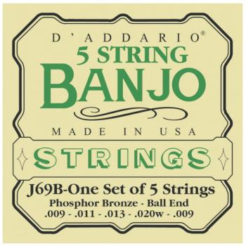 D'Addario Phosphor Bronze 5-String Ball-End Banjo Stings, Light (9 - 2 (DD-J69B)