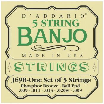 D'Addario Phosphor Bronze 5-String Ball-End Banjo Stings, Light (9 - 2 (DD-J69B)
