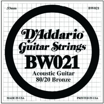 D'Addario 80/20 Bronze Single Strings, .021 (5) (DD-BW021)