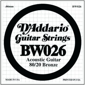 D'Addario 80/20 Bronze Single Strings, .026 (5) (DD-BW026)