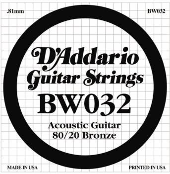 D'Addario 80/20 Bronze Single Strings, .032 (5) (DD-BW032)