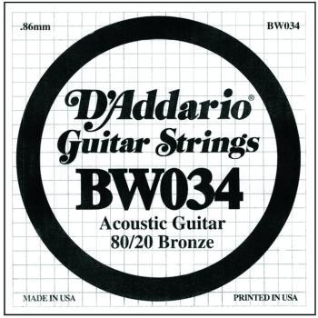 D'Addario 80/20 Bronze Single Strings, .034 (5) (DD-BW034)