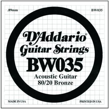 D'Addario 80/20 Bronze Single Strings, .035 (5) (DD-BW035)