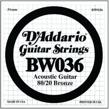D'Addario 80/20 Bronze Single Strings, .036 (5) (DD-BW036)
