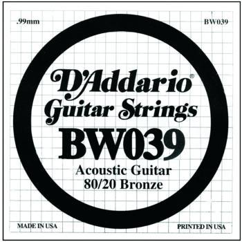 D'Addario 80/20 Bronze Single Strings, .039 (5) (DD-BW039)