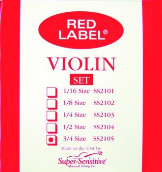 Super Sensitive Orchestra Tone Red Label Violin String, 3/4 (SU-MTR-SS1H)