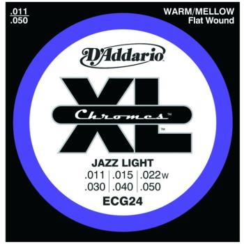 D'Addario Chromes Flatwound Strings, Jazz Light (DD-ECG24)