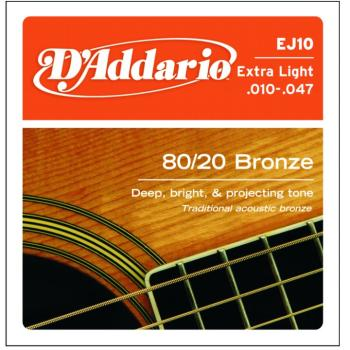 D'Addario 80/20 Bronze Acoustic, Extra Light (EJ10)