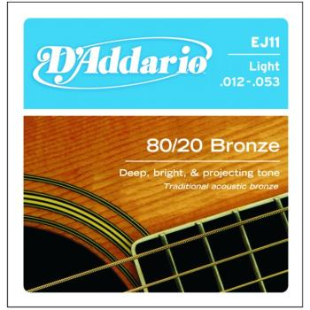 D'Addario 80/20 Bronze Acoustic Strings, Light (DD-EJ11)