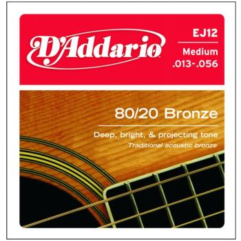 D'Addario 80/20 Bronze Acoustic Strings, Medium (EJ12)
