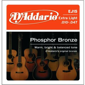 D'Addario Phosphor Bronze Acoustic Strings, Ex. Lt (EJ15)