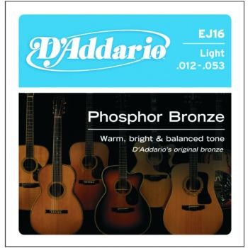 D'Addario Phosphor Bronze Acoustic Strings, Light (EJ16)