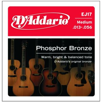 D'Addario Phosphor Bronze Acoustic Guitar Strings, Medium, 13-56 (EJ17)