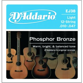 D'Addario Phosphor Bronze 12 String Acoustic, Lt (DD-EJ38)