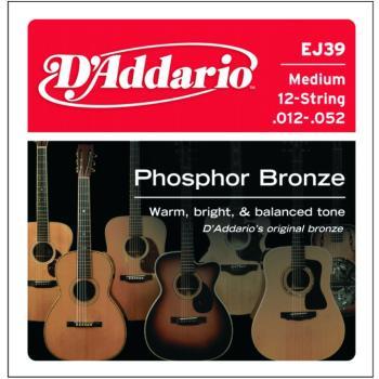 D'Addario Phosphor Bronze 12 String Acoustic, Med. (DD-EJ39)