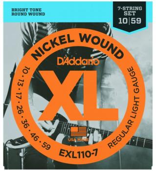 D'Addario XL Nickel 7 String Guitar Strings, Lt. (EXL1107)