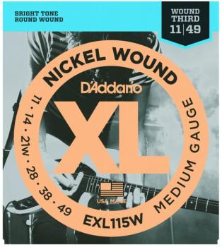 D'Addario XL String Set, Blues/Jazz Rock Wound 3rd (DD-EXL115W)