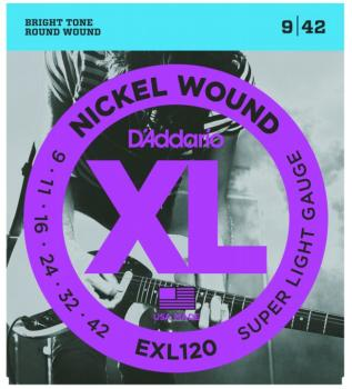 D'Addario XL Nickel Guitar Strings, Super Light (EXL120)