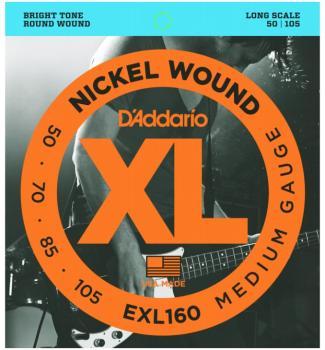 D'Addario XL Nickel Wound Bass Strings, Medium 50 - 105 (EXL160)