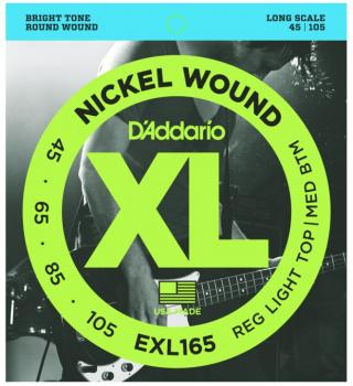 D'Addario Nickel Wound Bass, Custom Light, 45-105, Long Scale (EXL165)