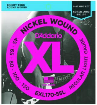 D'addario XL Super Long 5 String Bass Strings, Lt. (DD-EXL1705SL)