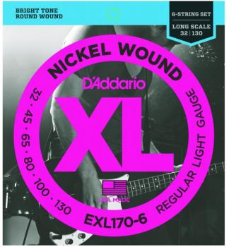 D'addario XL 6 String Bass Strings, Regular Light (DD-EXL1706)